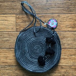 Black and Silver Woven Circle Bag with Tassel